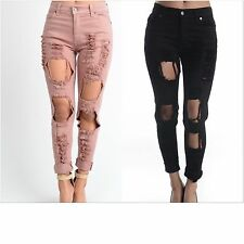 Pink Distressed Boyfriend Jeans.ripped,Black Destroyed Boyfriend Jeans.All Sizes