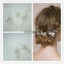 3pcs Wedding Bridal Faux Pearl Flower Crystal Rhinestone Hair Pins Accessory