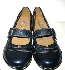 NEW Clarks Women's Ashland Lux Navy Blue Mary Jane Shoe Tumbled Leather Sz 7 N