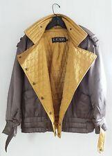 Amazing 80s Vintage ESCADA Olive Gold Satin Silk Womens Bomber Jacket Coat, 34-M