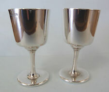 Pair of Solid SILVER Sherry GOBLETS.  Birmingham 1938. W H Hasleler