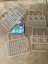 Set 6 Vintage Wire Mesh Chair Caddies attach to grid patio lawn Chairs