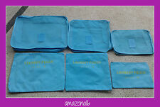 Great Gift! Set of 6 Luggage Organizers Travel Packing Cubes and Pouches ICE BLU