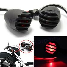 2 X RED LENS MOTORCYCLE BLACK GRILL TURN SIGNAL BRAKE STOP RUNNING TAIL LIGHTS