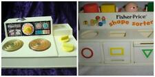 Lot of 2 Vintage 1979 Fisher Price Kitchen Magic Stove #919 & Shape Sorter #412