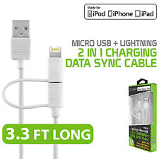 Apple MFI Certified 2 in 1 Micro USB + 8 Pin Lightning Charge Data & Sync Cable