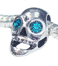 Blue Rhinestone Skull December Birthstone Bead for European Style Charm Bracelet