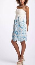 Anthropologie VanessaVirginia Strapless Floral Mesh Lace Ivory Blue Dress 6 M S