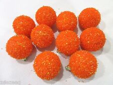 "(10) Halloween Christmas Orange Ball Ornaments 2.75"" Decorations"