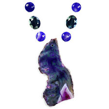 Grand Paon Agate pendentif collier Cristal & Perle Set kits de fabrication de bijoux UK