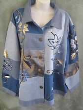 Indigo Moon Patchwork & Floral Embroidered Jacket NWT Plus Size 3X