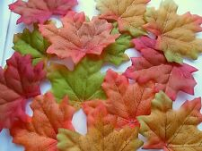 100 MULTI COLOURED SILK AUTUMN/MAPLE LEAF UK  WEDDING/CRAFTS DECORATION/COSTUME