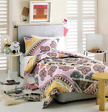ADELLE GOLD/PINK/BLACK/WHITE FLOWERS FLORAL QUILT COVER SET SINGLE NEW