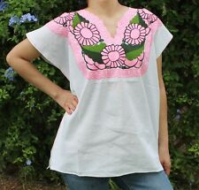 LARGE MANTA PEASANT HAND EMBROIDERED MEXICAN BLOUSE TOP 100% COTTON