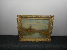 Antique oil painting,{ Landscape with a windmill & river, signed P.v. Schaik }
