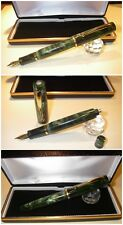 Penna Stilografica HandMade Celluloid fountain pen Duo Green Button Filler Jr.