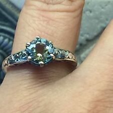 AAA Natural 1ct Aquamarine 925 Solid Sterling Silver Filigree Ring 7.25
