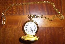 Antique Polished Gold White Men's Quartz Pocket Watch with Chain