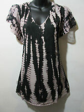 Top Fits XL 1X 2X Plus Tunic Black Gray Tie Dye Lace Sequins A Shaped NWT 776