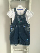 Baby Boy Dungarees Outfit Size 12-18 Months White Blue Denim Top Star Ladybird