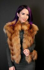 NAFA RED FOX AND LEATHER VEST / ONE OF A KIND, GENUINE FUR / SIZE S, XS