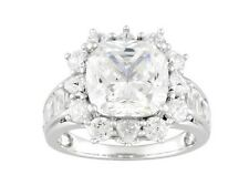 10.88 ctw Bella Luce Cushion, Round, & Baguette CZ Ring Sterling Silver Size 6
