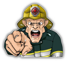 Angry Firefighter Car Bumper Sticker Decal 5'' x 5''