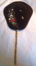 ANTIQUE VICTORIAN Painted Toleware Design Fan  Ladies Signed Artist Rivière