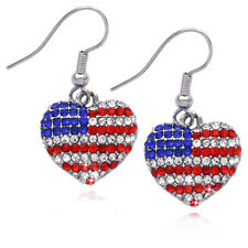 USA US American Flag Patriotic Heart Drop Dangle Hook Earrings Jewelry e32k
