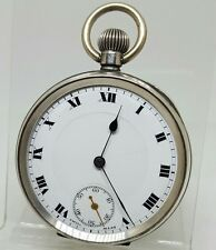 Antique solid silver gents pocket watch 1917 gwo