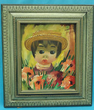 NOTABLE BIG EYED GIRL ORIGINAL PAINTING SIGNED GINA in MANNER OF JEAN CALOGERO