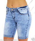 NEW Womens Denim Blue Shorts Knee length Turn Up Pedel pusher Size 8 10 12 14 16