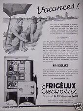 PUBLICITÉ 1933 FRIGÉLUX BIJOU OU IDÉAL ELECTRO-LUX - THÉO ROGER - ADVERTISING