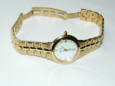 LADIES ZEITNER KUDOS GOLD PLATED WATCH with 8 DIAMONDS WATER RESISTANT to 3 ATM