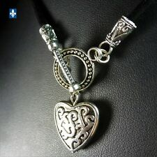 ♥ Pretty Genuine Black Leather & Plated Silver Heart Charm Choker Necklace