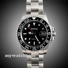 40mm Parnis black dial Sapphire glass Ceramic bezel GMT automatic mens watch 146