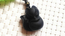 100% natural hand-carved obsidian pendant necklace cute fox lucky  MM0M