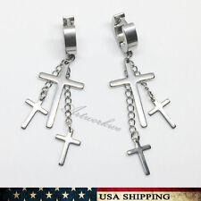 Mens/Womens Stainless Steel Dangle Cross Ear Stud Hoop Huggies Earring Punk