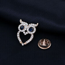 Korean fashion mini diamond owl shirt small collar pin brooch retro suit