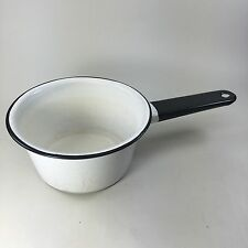 Vintage White Speckled Enamel Sauce Pan/Pot Black Hollow Handle Holds 4 Cups