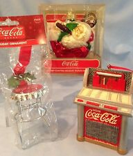 Coca-Cola Ornaments Glass Santa-75th Anniv., Metal Red Jukebox, Stool  Lot/3 $43