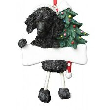 Poodle Black Dangling Wobbly Leg Dog Bone Christmas Ornament