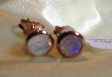 1/2 Ct, Natural, Opal Earrings, Stud, Rose Gold Overlay Sterling Silver