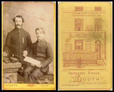 ANTIQUE CDV PHOTO - TWO MEN IN SALVATION ARMY UNIFORM BY A. JAMES, LOUTH STUDIO
