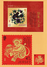 Jersey 2016 Year of Monkey 2v Set Stamps on Postcards Chinese Lunar New Year