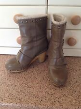 GREAT KILLAH BEIGE MID CALF BOOTS UK SIZE 3.5 WORND SOME SIGNS OF WEAR