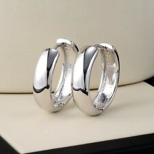18k White Gold Filled Charming Earrings 21MM smooth Hoop GF pretty Jewelry