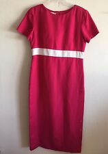 Talbots Linen Rayon Lined Maxi Side Button Front Maxi S/S Dress Women's 10 NWOT