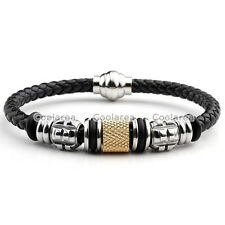 Men's Braided Genuine Leather Stainless Steel Magnetic Clasp Bracelet Wristband