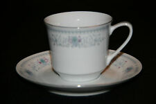 TEA CUP & SAUCER MADE IN CHINA BLUE, GREY W/ REDDISH PURPLE FLOWERS SILVER RIM